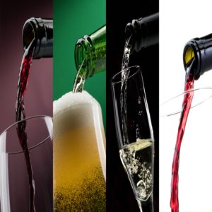 Pouring alcoholic drinks into glasses photo collage: beer, red wine and white wine
